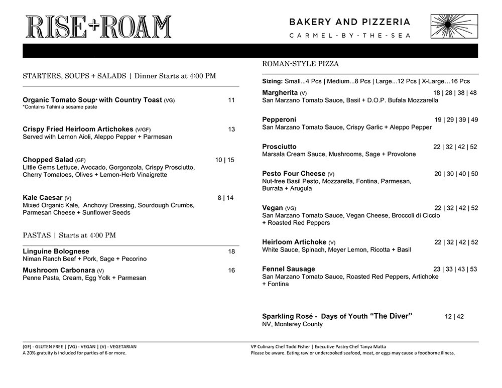 Rise + Roam Dinner menu Page one