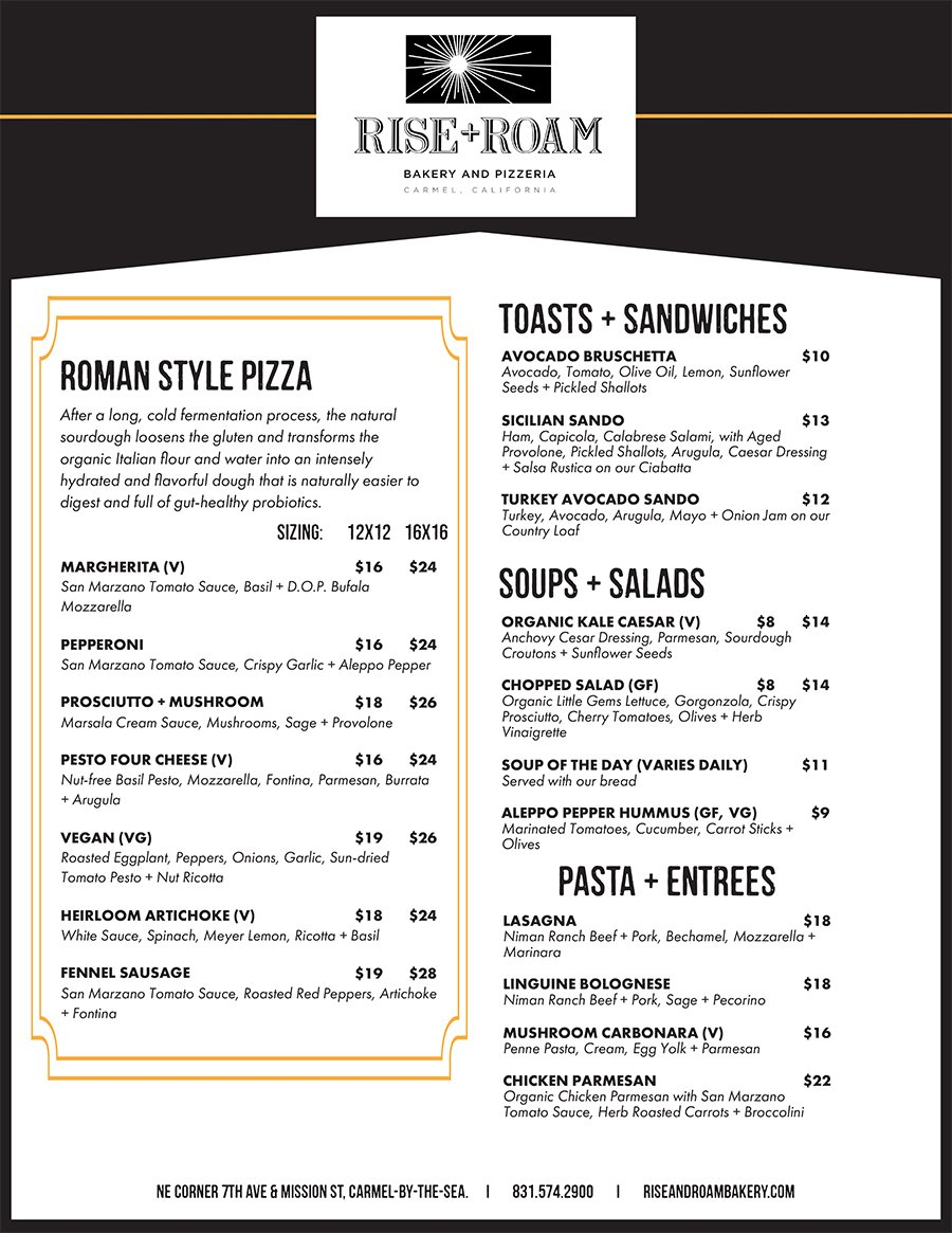 Rise and Roam Pizzeria Menu