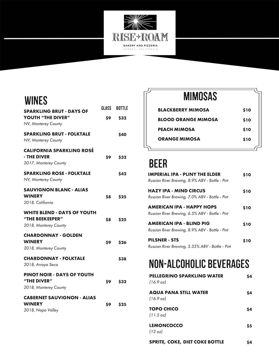 Rise + Roam Pizzeria and Bakery Menu Page Two