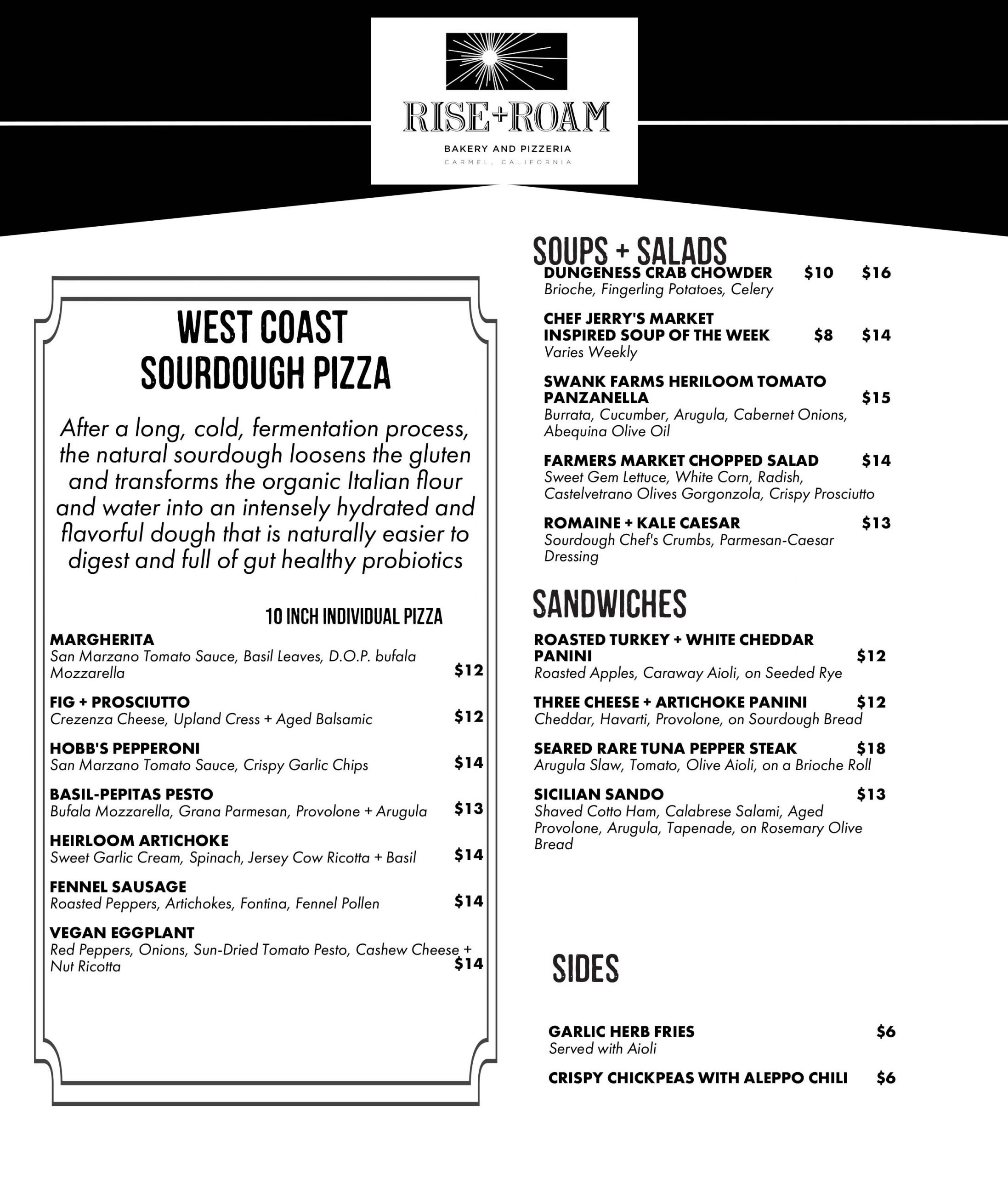 Rise + Roam Pizzeria and Bakery Menu Page One